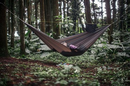 Custom hammocks made of parachute nylon used at outdoor